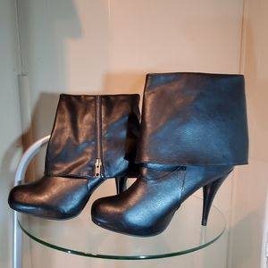 SM New York Black Vegan Leather Ankle Boots